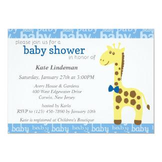 Jirafa en la fiesta de bienvenida al bebé azul del invitación 12,7 x 17,8 cm