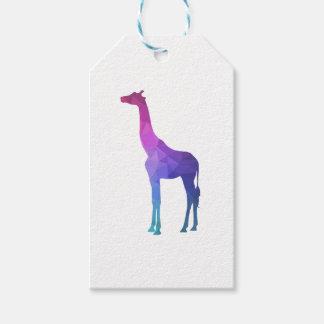 Jirafa geométrica con idea vibrante del regalo de etiquetas para regalos