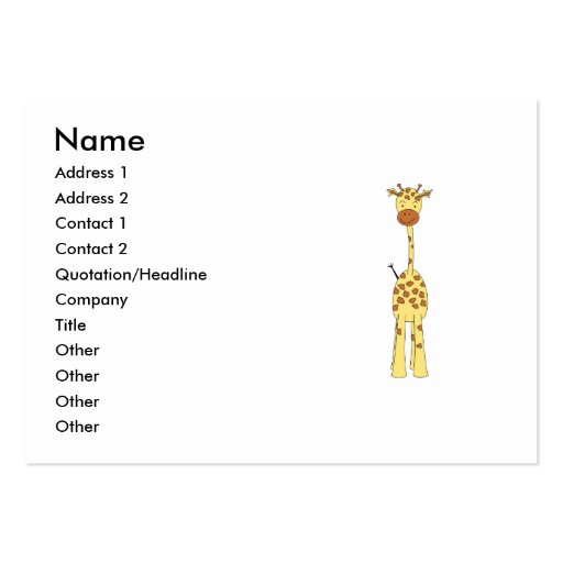 Jirafa linda alta. Animal del dibujo animado Tarjeta Personal