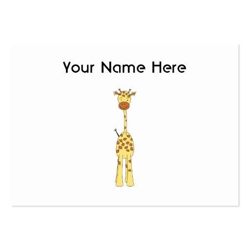 Jirafa linda alta. Animal del dibujo animado Plantilla De Tarjeta De Negocio