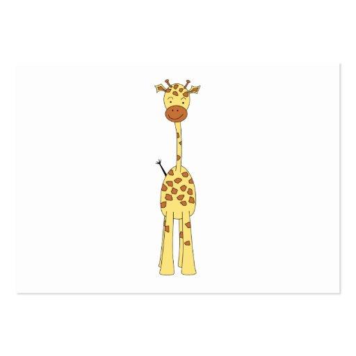 Jirafa linda alta. Animal del dibujo animado Plantilla De Tarjeta Personal