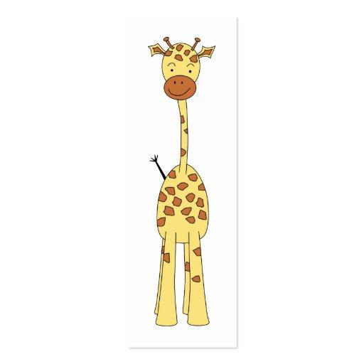 Jirafa linda alta. Animal del dibujo animado Tarjeta De Visita