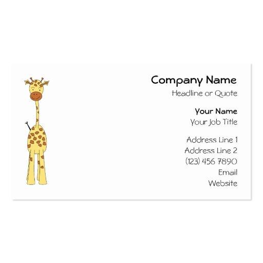 Jirafa linda alta. Animal del dibujo animado Plantillas De Tarjetas De Visita