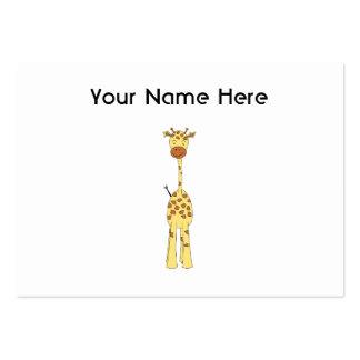 Jirafa linda alta. Animal del dibujo animado Tarjetas De Visita Grandes