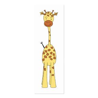 Jirafa linda alta. Animal del dibujo animado Tarjetas De Visita Mini