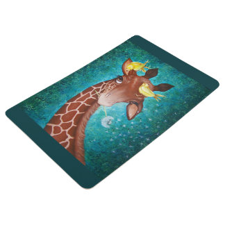 Jirafa linda con la pintura de los pájaros alfombra