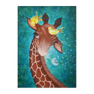 Jirafa linda con la pintura de los pájaros impresión acrílica