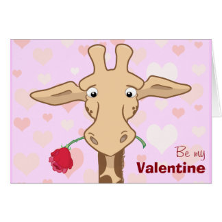 Jirafa linda y tarjeta color de rosa de la tarjeta