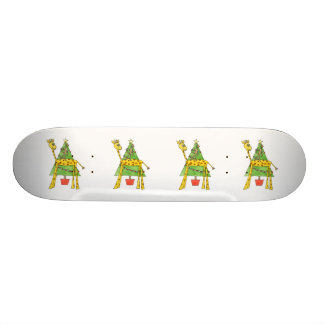 Jirafa mono y árbol de navidad monopatin personalizado
