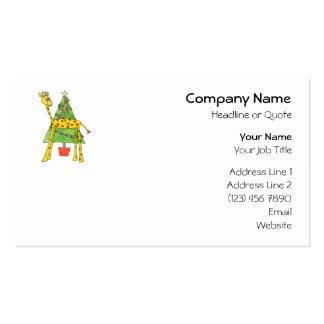 Jirafa, mono y árbol de navidad tarjetas de visita