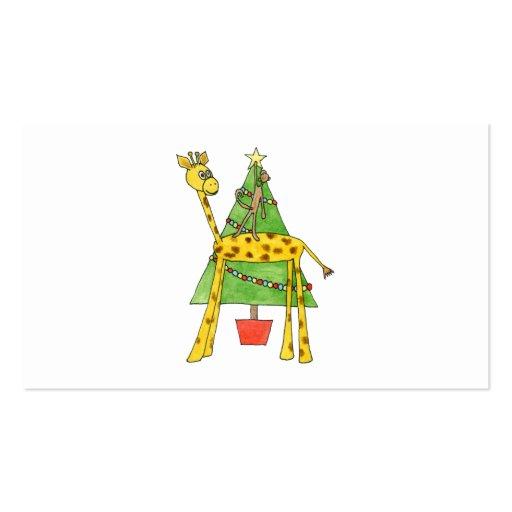 Jirafa, mono y árbol de navidad tarjetas de negocios