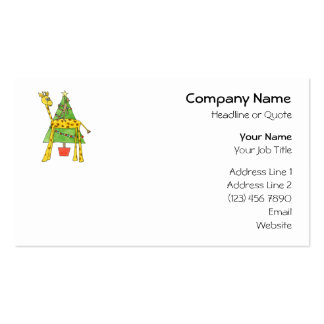 Jirafa, mono y árbol de navidad tarjeta de visita