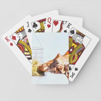 Jirafa que alimenta desde cesta de arriba baraja de cartas
