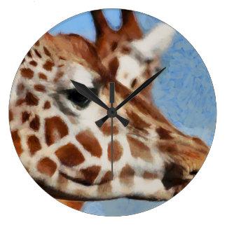 Jirafa que come su comida reloj redondo grande