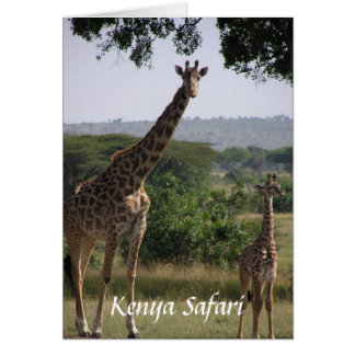 Jirafa, safari de Kenia Tarjeton