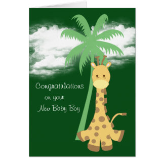 Jirafa verde oscuro de la nueva enhorabuena del tarjeta de felicitación
