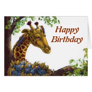 Jirafa y tarjeta del feliz cumpleaños de Oxpecker