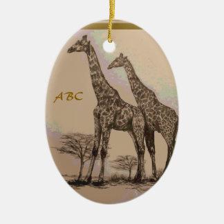 Jirafas africanas retras raras en sepia y pasteles adornos