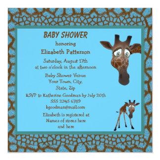 Jirafas de la fiesta de bienvenida al bebé y invitación 13,3 cm x 13,3cm