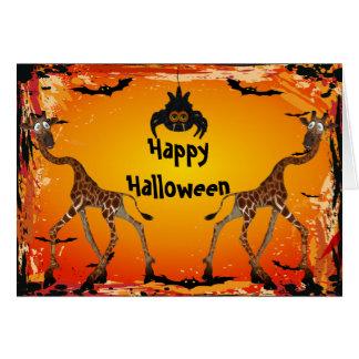 Jirafas y tarjeta divertidas de Halloween de la