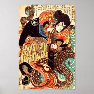 Jiraiya y japonés Ukiyoe del vintage de la serpien Posters