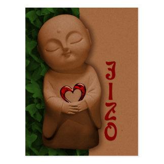 Jizō que lleva a cabo una condolencia del corazón postal