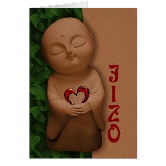 Jizō que lleva a cabo una condolencia del corazón tarjeta de felicitación