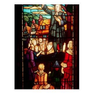 John Wesley que predica los evangelios en Postal