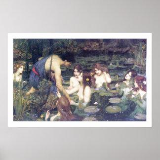 John William Waterhouse - Hylas y las ninfas Póster