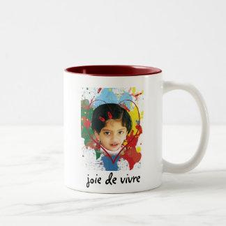 joie de vivre taza de café de dos colores