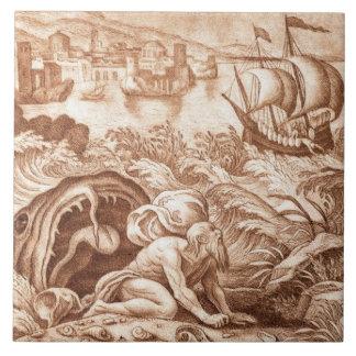 Jonah y la ballena, ejemplo de una biblia, en teja cerámica