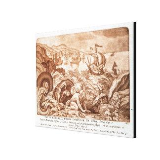 Jonah y la ballena, ejemplo de una biblia, en impresiones en lona estiradas