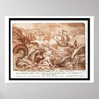 Jonah y la ballena, ejemplo de una biblia, en póster