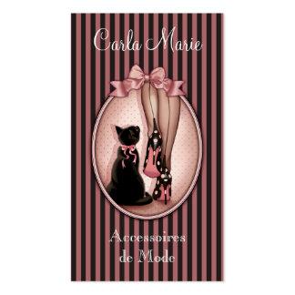 Joven mujer elegante y gato negro tarjetas de visita