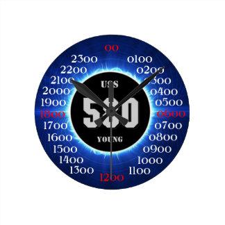 Jóvenes de USS (DD-580) Reloj Redondo Mediano
