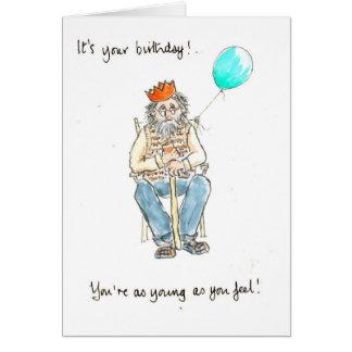 Jóvenes en tarjeta de cumpleaños del corazón