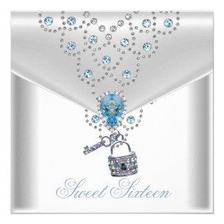 Joya azul de plata blanca elegante 16 del dulce invitación 13,3 cm x 13,3cm