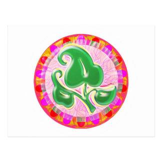 Joya de la hoja del verde esmeralda postal