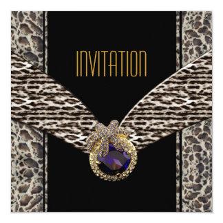 Joya de la púrpura del estampado de animales de la invitación 13,3 cm x 13,3cm