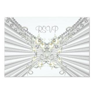 Joya de plata blanca 2 de la perla del 25to invitación 8,9 x 12,7 cm