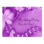 Joya floral púrpura, fiesta de cumpleaños tarjetas postales