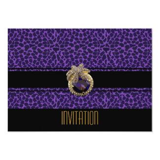 Joya negra púrpura 2 del estampado de animales de invitación 12,7 x 17,8 cm