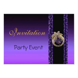 Joya negra púrpura 3 del estampado de animales de invitación 12,7 x 17,8 cm