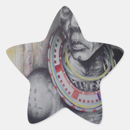 Joyería africana tradicional Hakuna Matata del Pegatina Forma De Estrella Personalizadas