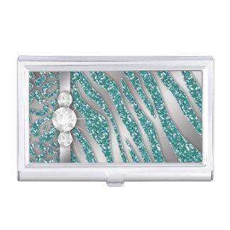 Joyería elegante de la bodas de plata de la cebra caja de tarjetas de presentación