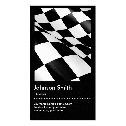 Joyero - bandera a cuadros blanca negra tarjeta de negocio
