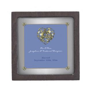 Joyero Corazón del boda del azul y del oro