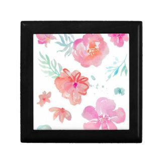 Joyero Flores rosadas románticas de la acuarela