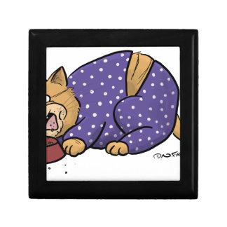 Joyero Gato que lleva el pijama púrpura de los lunares