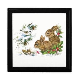 Joyero Los conejitos y el pájaro gozan de nieve